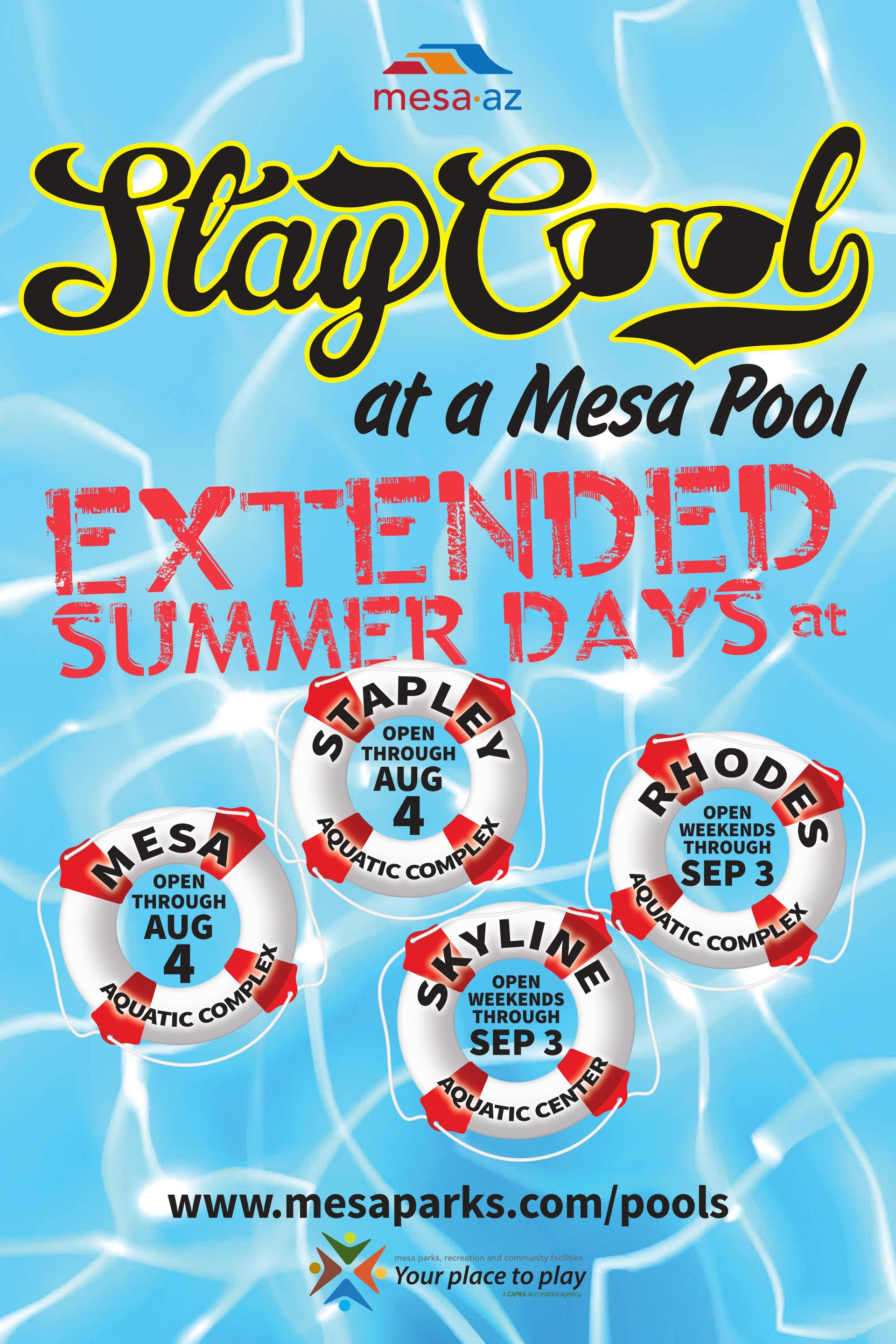 Extended Pool Hours Summer 2018