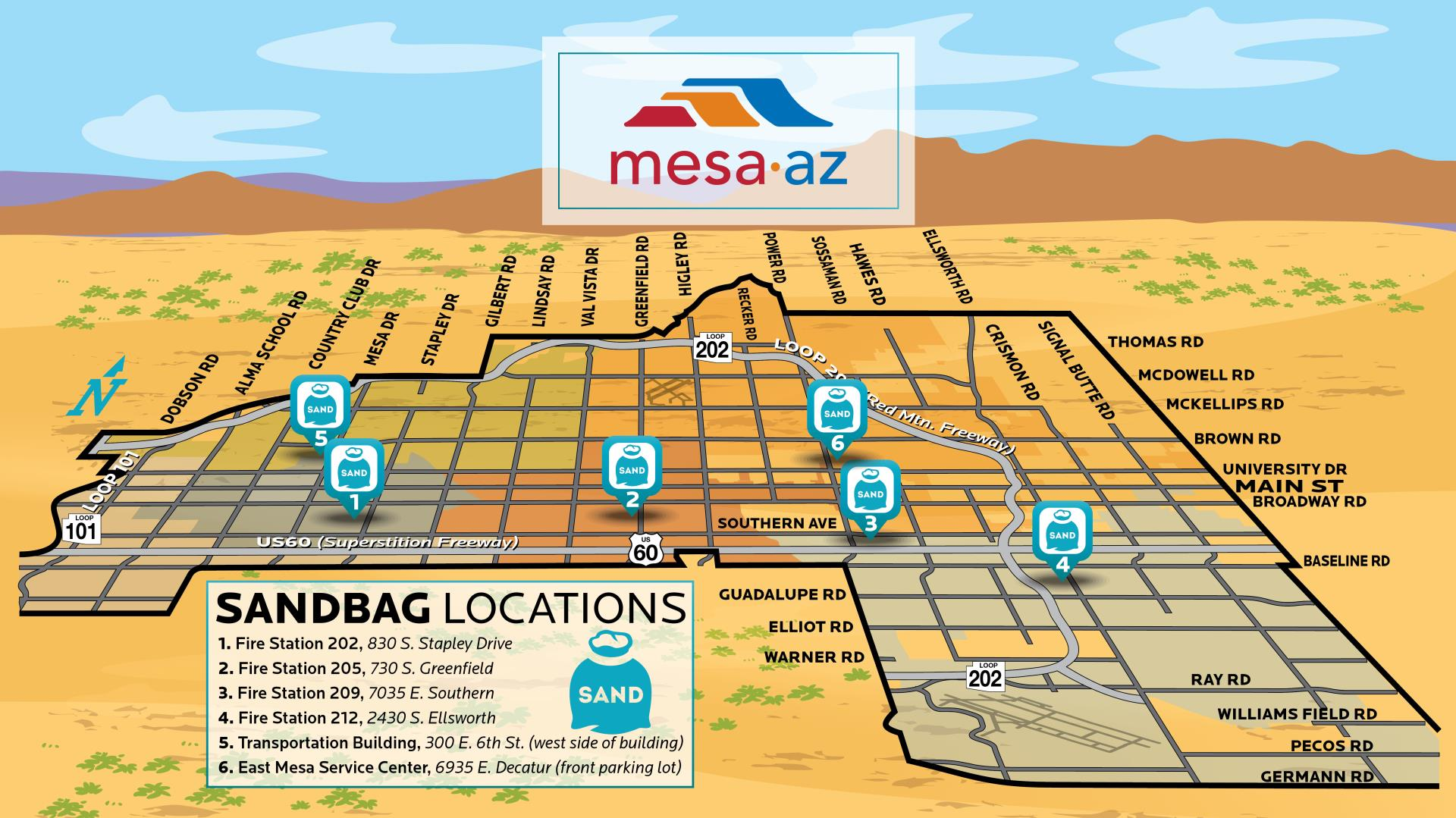 Sandbag location map