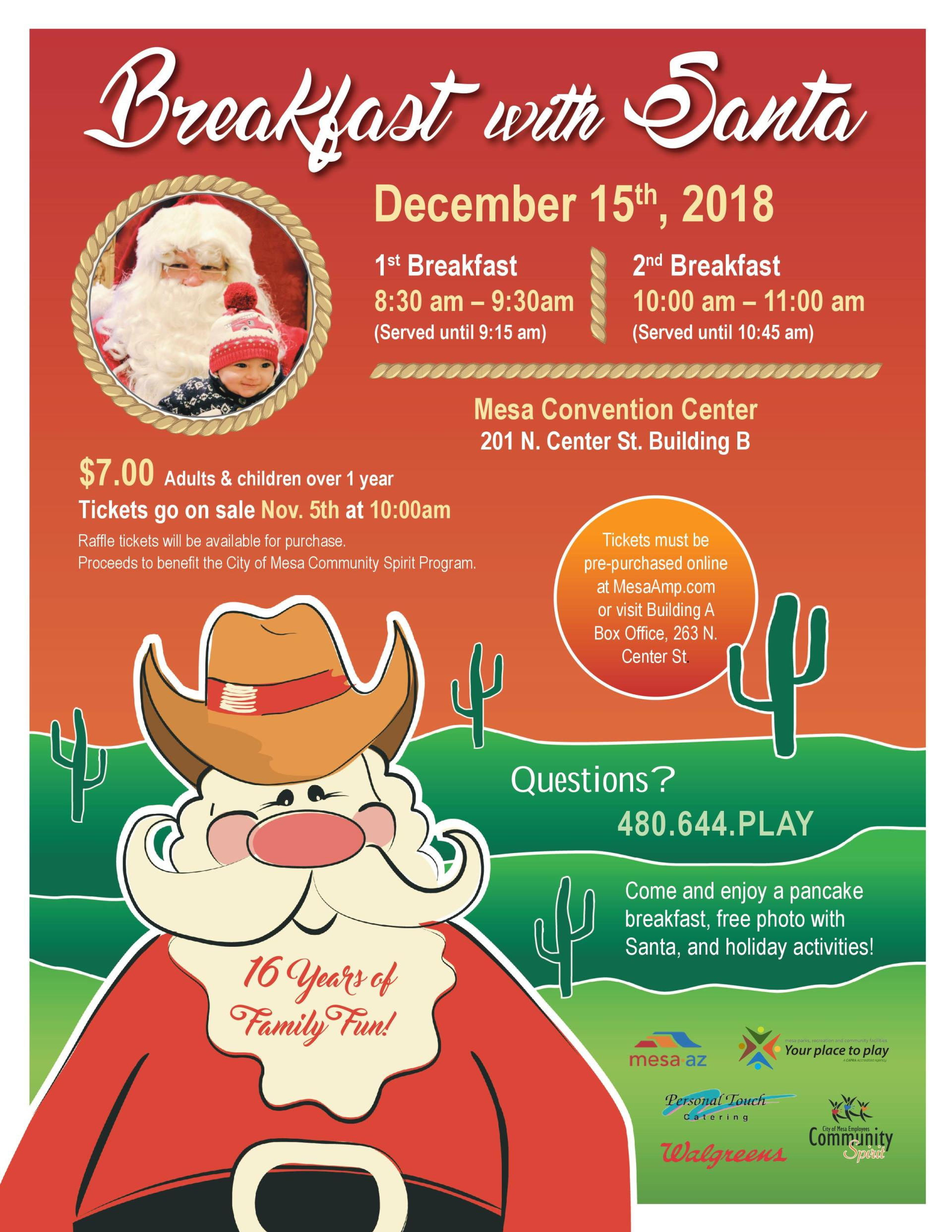 breakfast with santa flyer 2018 city of mesa