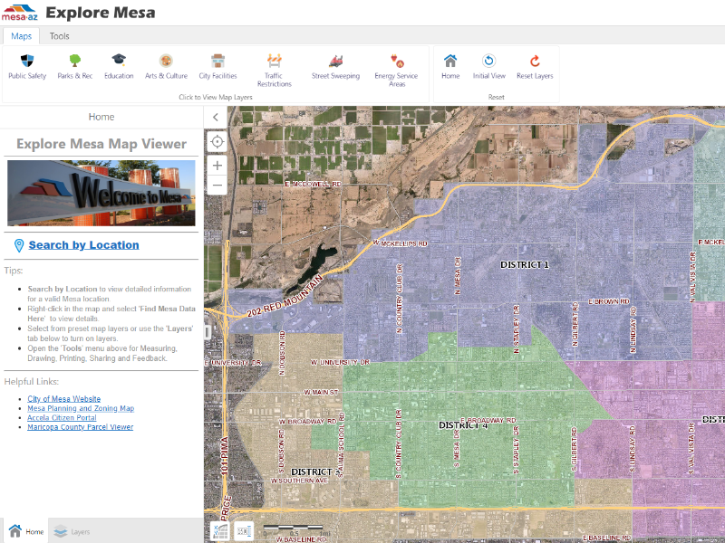 Interactive Map Of Arizona.Maps City Of Mesa